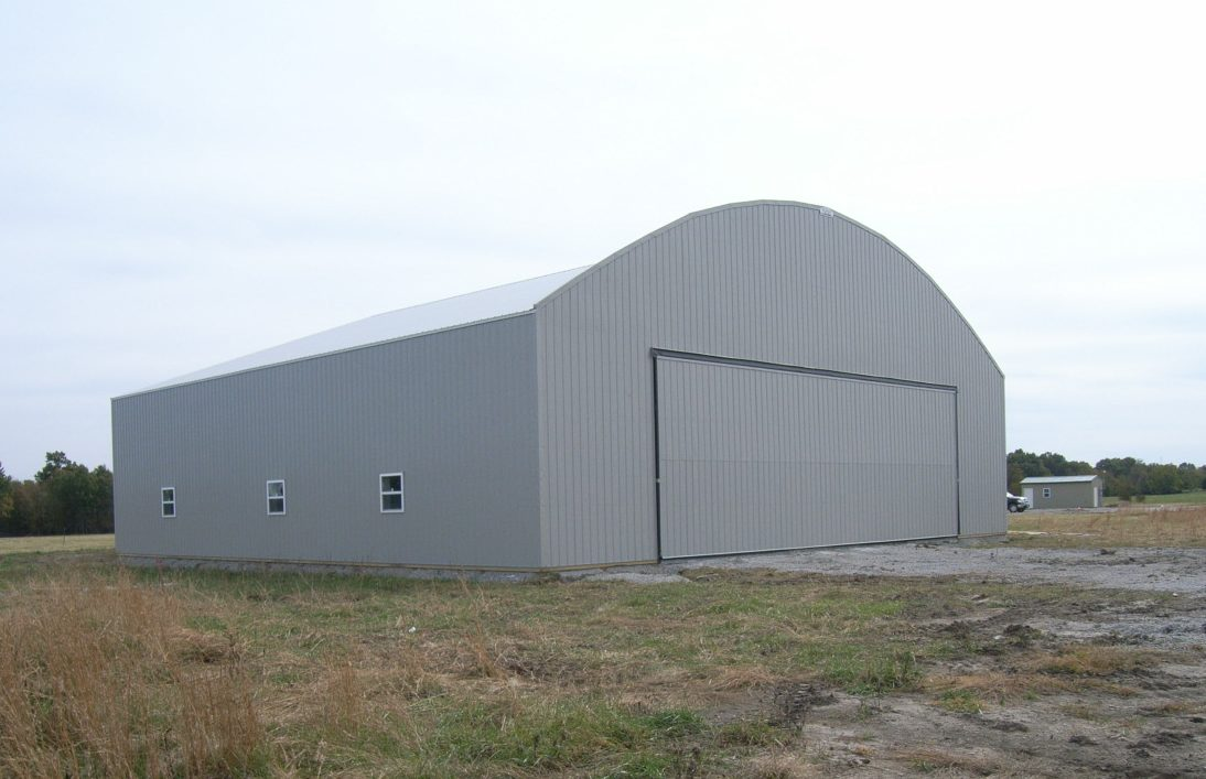 The first hangar at Linn County Airport in Pleasanton Kansas nears completion.
