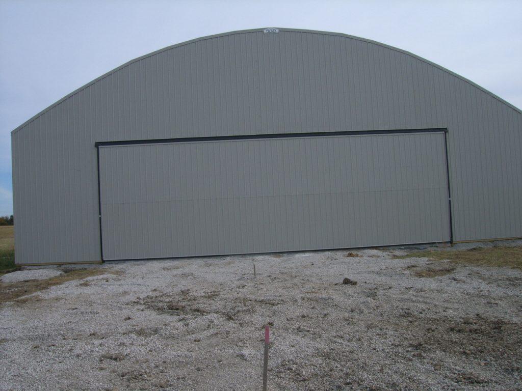 The first hangar at Linn County Airport in Pleasanton Kansas nears completion.